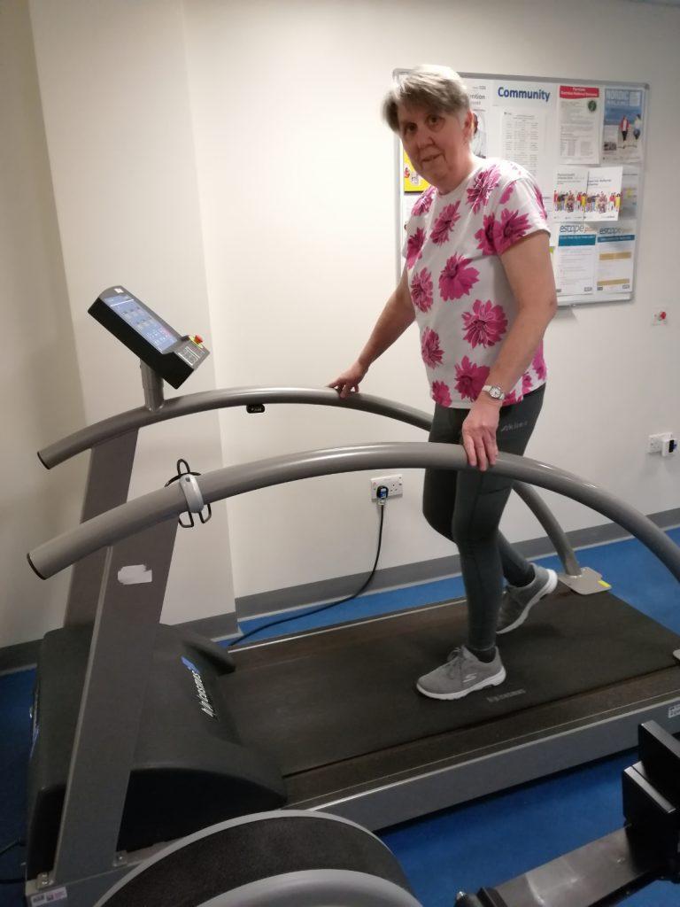 Sue Woodriffe - on treadmill