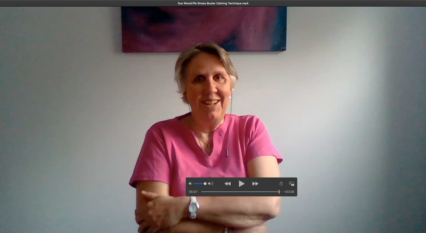 Sue Woodriffe Stress Buster Calming Video for newsletter sign-up